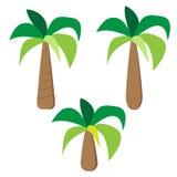 Uppsättning av palmträd i enkel plan stil Royaltyfri Bild
