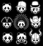Uppsättning av pandahuvudet Arkivbilder