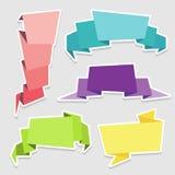 Uppsättning av pappers- baner för färgrik origami Arkivbild