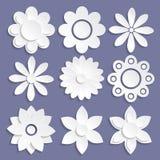 Uppsättning av pappers- origamiblommor vektor illustrationer