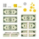 Uppsättning av pappers- pengar och mynt vektor illustrationer