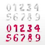 Uppsättning av pappers- vikningnummer Vit och röd bandskriftstilsort Modern stiliserad pappers- stilsort bokstäver för alfabetbrä Royaltyfri Bild