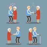 Uppsättning av pensionärfolk royaltyfri illustrationer