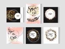 Uppsättning av perfekta kort för mallar för bröllopabstrakt begreppvektor med guld-, pastellfärgade svartvita färger Ideal för de royaltyfri illustrationer