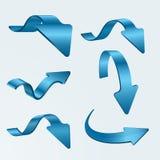 Uppsättning av pilar för blått 3D Fotografering för Bildbyråer