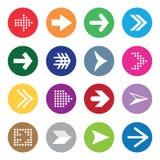 Uppsättning av pilsymboler på färgcirklar som isoleras på Fotografering för Bildbyråer
