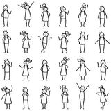 Uppsättning av pinnediagram, pinnefolk som står, peka, lyckliga män och kvinnor som ler och gör en gest royaltyfri illustrationer
