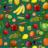 Uppsättning av PIXELbilder av grönsaker och frukt på grön bakgrund royaltyfri illustrationer