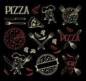 Uppsättning av pizzasymboler Royaltyfria Bilder