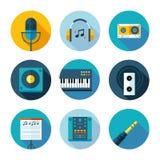 Uppsättning av plan musik och solida symboler Arkivfoton