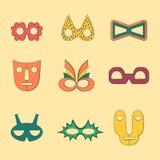 Uppsättning av plan stil skisserade maskeringar utan handtag Fotografering för Bildbyråer