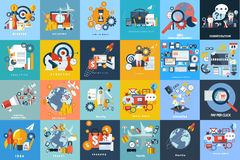 uppsättning av plana bakgrunder: turism affär, utbildning, marknadsföring royaltyfri illustrationer