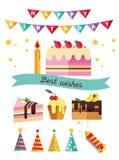 Uppsättning av plana beståndsdelar för catoonfödelsedagparti garnering vektor illustrationer