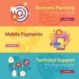 Uppsättning av plana designbegrepp för affärsplanläggning, mobila betalningar, teknisk service Fotografering för Bildbyråer