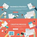 Uppsättning av plana designbegrepp för affärsstrategi och idérik process vektor illustrationer