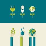 Uppsättning av plana designbegrepp för ekologi Arkivfoton