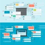Uppsättning av plana designbegrepp för socialt nätverk Royaltyfri Fotografi