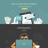 Uppsättning av plana designbegrepp för utvecklingsprocess och att programmera för rengöringsdukapplikation vektor illustrationer