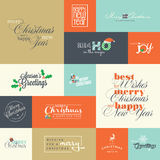Uppsättning av plana designbeståndsdelar för hälsningkort för jul och för nytt år Royaltyfri Bild