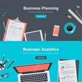 Uppsättning av plana designillustrationbegrepp för affärsplanläggning och analytics Royaltyfri Fotografi