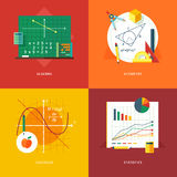 Uppsättning av plana designillustrationbegrepp för algebra, geometri, kalkyl, statistik Utbildnings- och kunskapsidéer Royaltyfri Foto