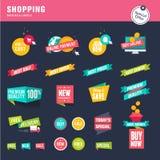 Uppsättning av plana designklistermärkear och band för att shoppa vektor illustrationer