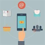Uppsättning av plana designrengöringsduksymboler för mobiltelefonservice och apps. Begrepp: marknadsföring email, video Arkivbild