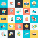 Uppsättning av plana designstilsymboler för e-komrets, online-shopping