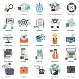 Uppsättning av plana designsymboler för affären, lön per klicken, idérik process som söker, rengöringsdukanalys, arbete-flöde, på stock illustrationer