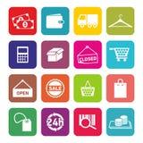 Uppsättning av plana designsymboler för att shoppa och E-kommers royaltyfria foton