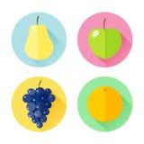 Uppsättning av plana designsymboler för frukter Royaltyfria Bilder