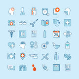 Uppsättning av plana designsymboler för medicin och hälsovård stock illustrationer