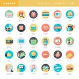 Uppsättning av plana designsymboler för online-shopping och e-kommers royaltyfri illustrationer