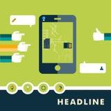 Uppsättning av plana designsymboler för smartphone vektor illustrationer