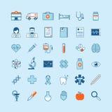 Uppsättning av plana designsymboler på medicintema Arkivbilder