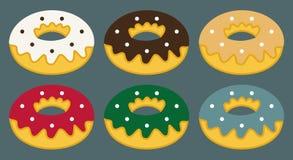 Uppsättning av plana donuts, donuts symbol och beståndsdelar Arkivfoto
