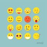 Uppsättning av plana emoticons stock illustrationer