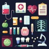 Uppsättning av plana färgrika symboler och beståndsdelar med tand- läkarundersökning- och hälsoobjekt Royaltyfri Bild