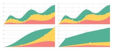 Uppsättning av plana grafer och diagram med ett raster Arkivfoton