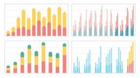 Uppsättning av plana grafer och diagram med ett raster Arkivbild
