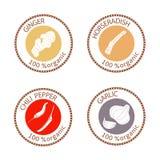 Uppsättning av plana kryddastämpeletiketter organiska 100 Samling Royaltyfria Bilder