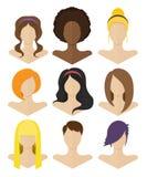 Uppsättning av plana kvinnliga frisyrer Vektor Illustrationer