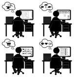 Uppsättning av plana lägekontorssymboler med den isolerade datoren Royaltyfri Bild
