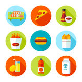 Uppsättning av plana livsmedelsbutik- och matsymboler Royaltyfria Foton