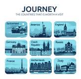 Uppsättning av plana loppsymboler med olika länder royaltyfri illustrationer