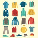 Uppsättning av plana mankläder- och tillbehörsymboler Arkivbild