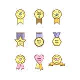 Uppsättning av plana medaljer och etiketter Royaltyfria Bilder