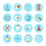 Uppsättning av plana medicinska symboler Arkivfoton