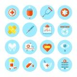 Uppsättning av plana medicinska symboler Arkivfoto