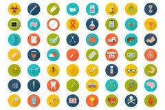 Uppsättning av plana medicinska symboler royaltyfri illustrationer